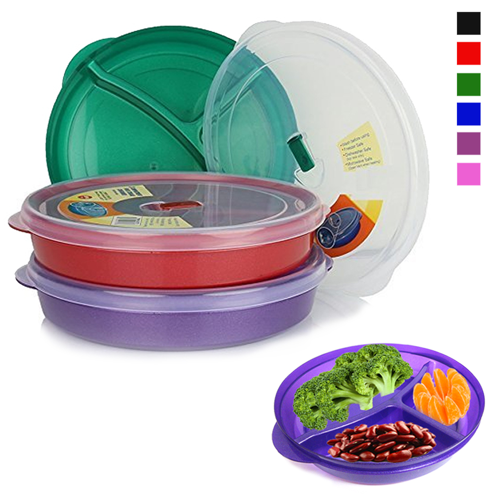 3 Pack Tray Containers Compartment Divided Plates w/ Vented Lid Food Storage BPA