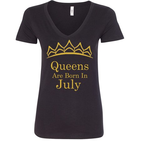 Queens Are Born In July Tiara Gold Print Lady V-Neck Birthday Tee Women Shirt Color Black Small