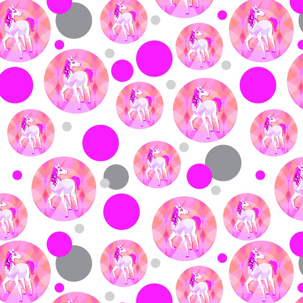 Geometric Unicorn Pink Fantasy Premium Gift Wrap Wrapping Paper Roll Pattern