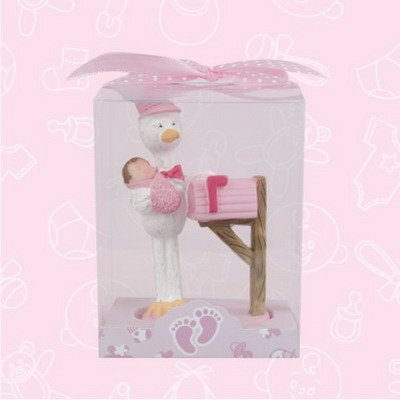 Baby Shower Baby Pink Girl Stork Mail Man Favor in Box Favors Gift Keepsake Favor