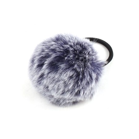 Unique Bargains Faux Fur Ball Decor Stretchy Band DIY Hairstyle Ponytail Hairband Navy Blue - image 4 de 4