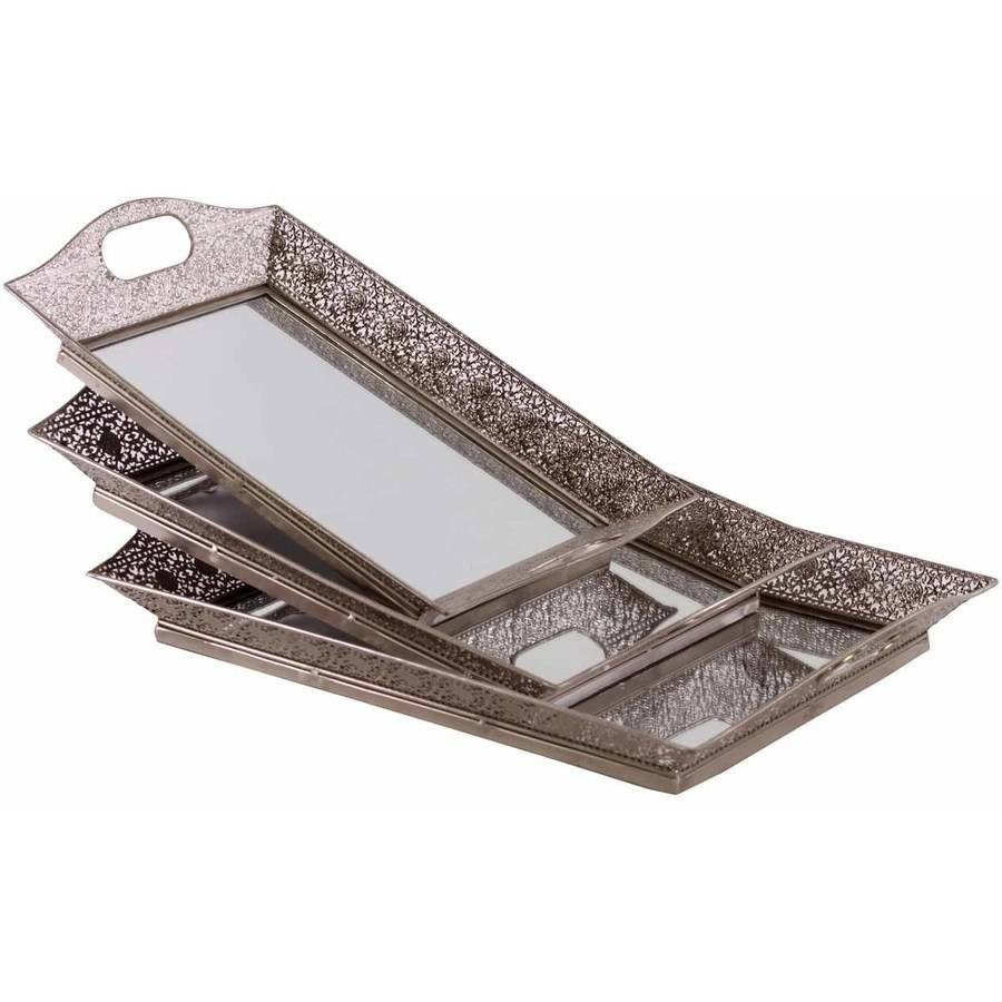 Urban Trends Collection: Metal Hand Tray, Electroplated Finish, Silver