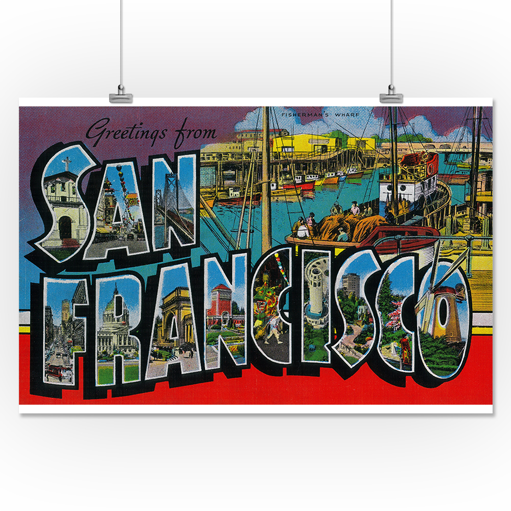 Greetings from san francisco california 16x24 giclee gallery print greetings from san francisco california 16x24 giclee gallery print wall decor travel poster m4hsunfo