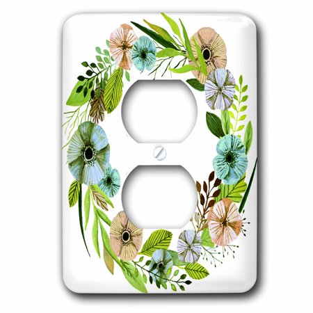 3dRose Pretty Watercolor Green and Aqua Floral Wreath 2 Plug Outlet Co