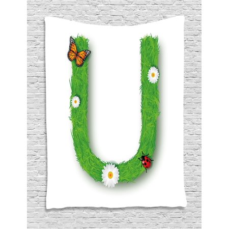 Letter U Tapestry, Capital U with Daisy Petals Ladybug Garden Blossoms Girls Nursery Theme, Wall Hanging for Bedroom Living Room Dorm Decor, 40W X 60L Inches, Green Multicolor, by - Ladybug Letters