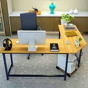 90° L-Shaped Desk Corner Latop Computer PC Wood Metal Table w/ CPU Stand Home Office Workstation