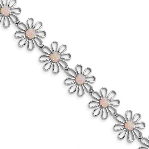 Sterling Silver 7inch Pink Created Opal Flower Bracelet by Jewelrypot