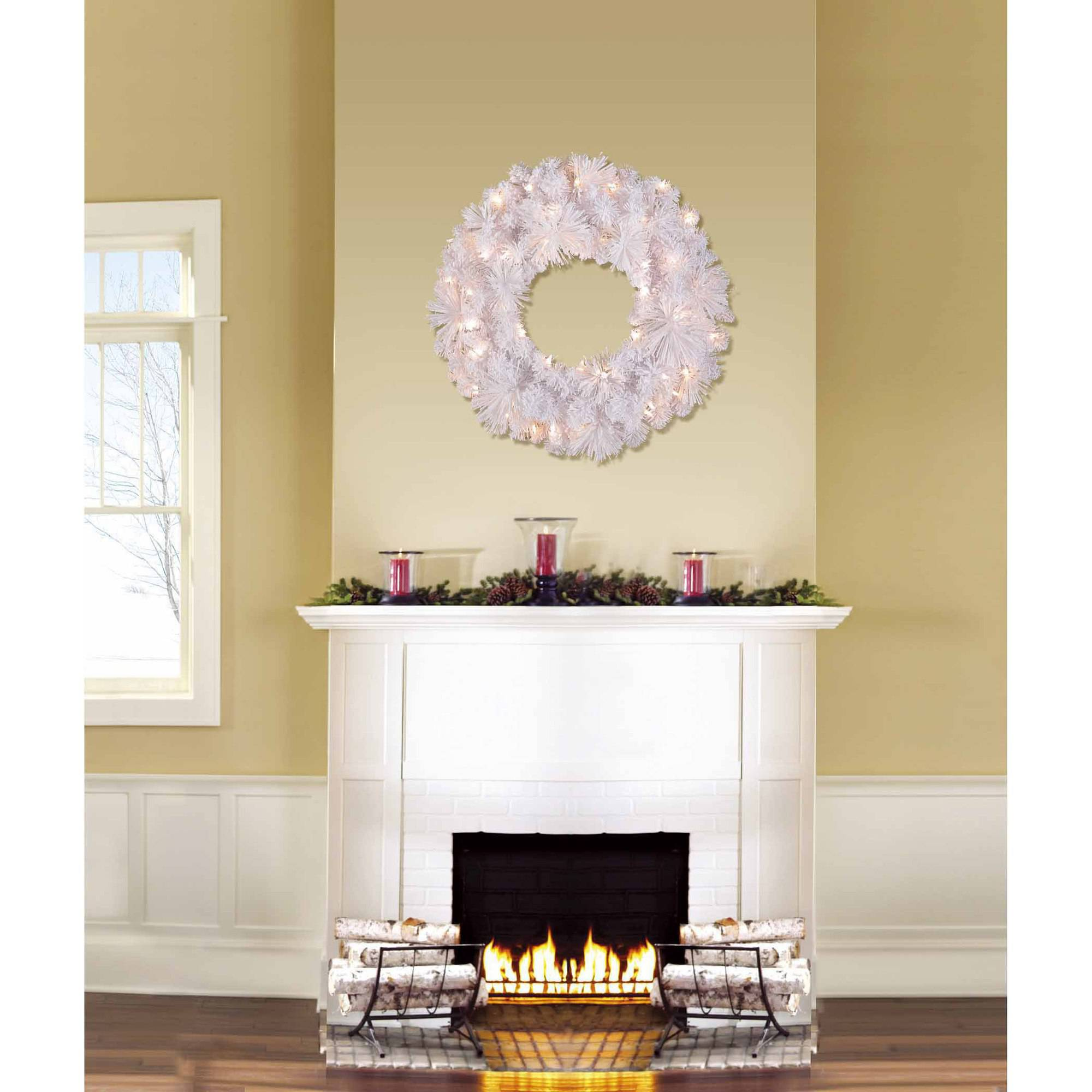 """Holiday Time Pre-Lit 24"""" Lenox Artificial Christmas Wreath, Clear Lights"""