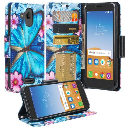 Alcatel Verso / Alcatel Tetra / Raven LTE A574BL / U50 5044S/ idealXCITE / CameoX 5044R Case, Wrist Strap Leather Flip Stand Wallet Cover Wristlet Clutch w/ Pocket and Card Slots - Midnight