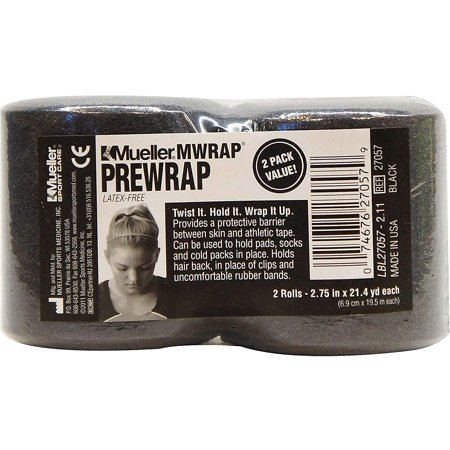 M Wrap 2-Pack Black Rolls, Pre-taping foam underwrap helps protect skin from tape chafing By Mueller (Chafe Tape)