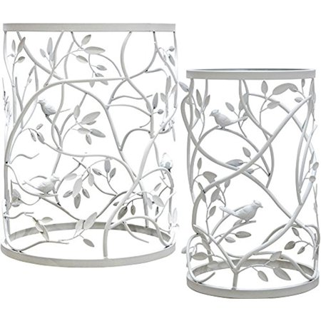 Palais Furnishings 'Feuilles' Side Table, Metal Barrel End Table, (Branch & Bird Design White - Set of 2) ()