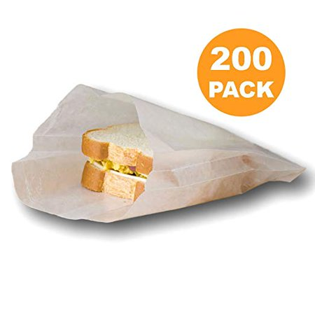 Plain 7 X 6 1 Wet Wax Paper Sandwich Bags Food Grade Water Grease Resistant White Glassine Semi Translucent 200 Pack