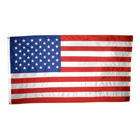 American Flag 3x5 ft. Nylon , with Sewn Stripes, Embroidered Stars and Brass Grommets.