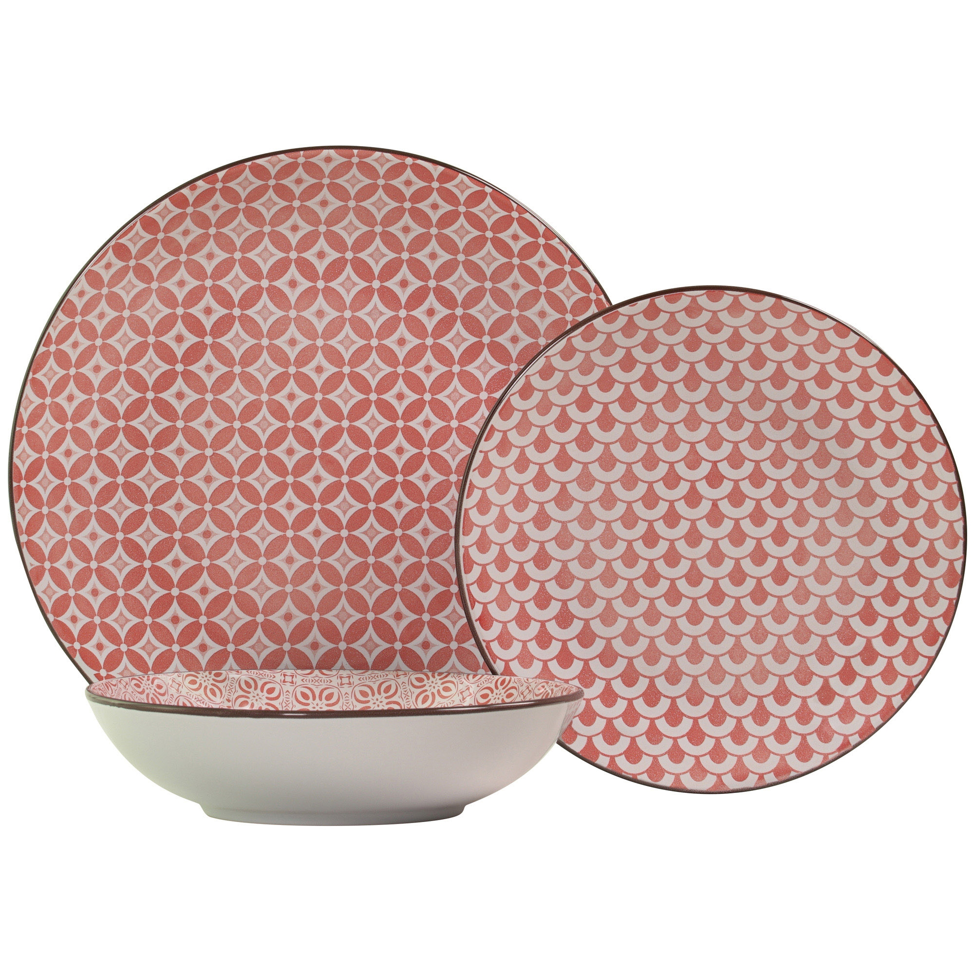 "Set of 8 Mainstays 10.5"" Pink Dinner Plates Glass//Stoneware"