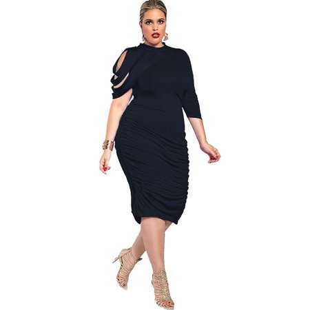 Senfloco L-5XL Plus Size Elegant Bodycon Dresses Turtleneck Pleated Evening  Party Wedding Dress