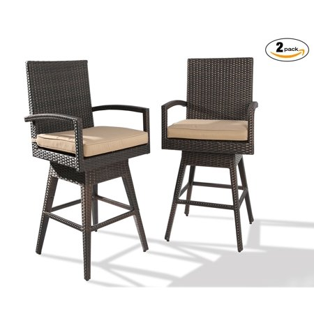 Ulax Furniture Outdoor 4-Piece Counter Height Swivel Bar Stools High Patio Dining Chair Set ()