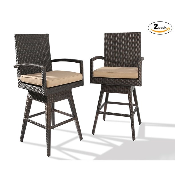 White Modern Desk Chair, Ulax Furniture 2 Pack Outdoor Patio Furniture All Weather Brown Wicker Swivel Bar Stool With Cushion Walmart Com Walmart Com