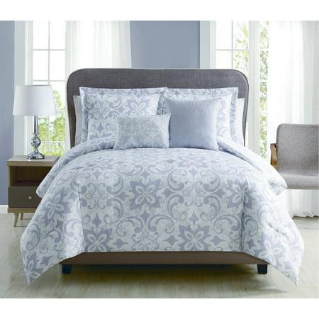 5 Piece Livingston Lilac/Gray Reversible Comforter Set ()
