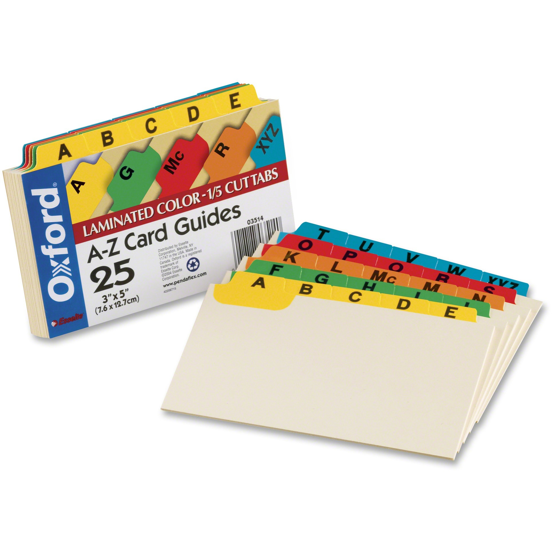 Oxford, OXF03514, A-Z Laminated Tab Card Guides, 25 / Set