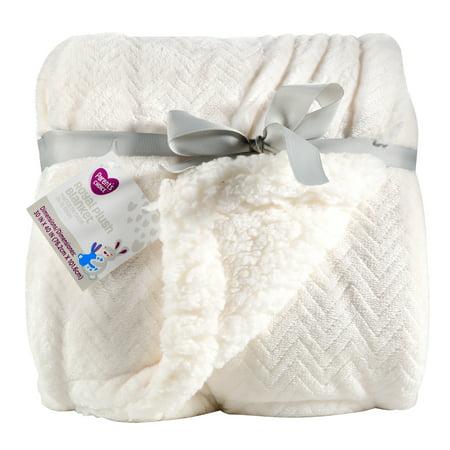 Royal Blue Receiving Blanket - Parent's Choice Royal Plush Blanket, White