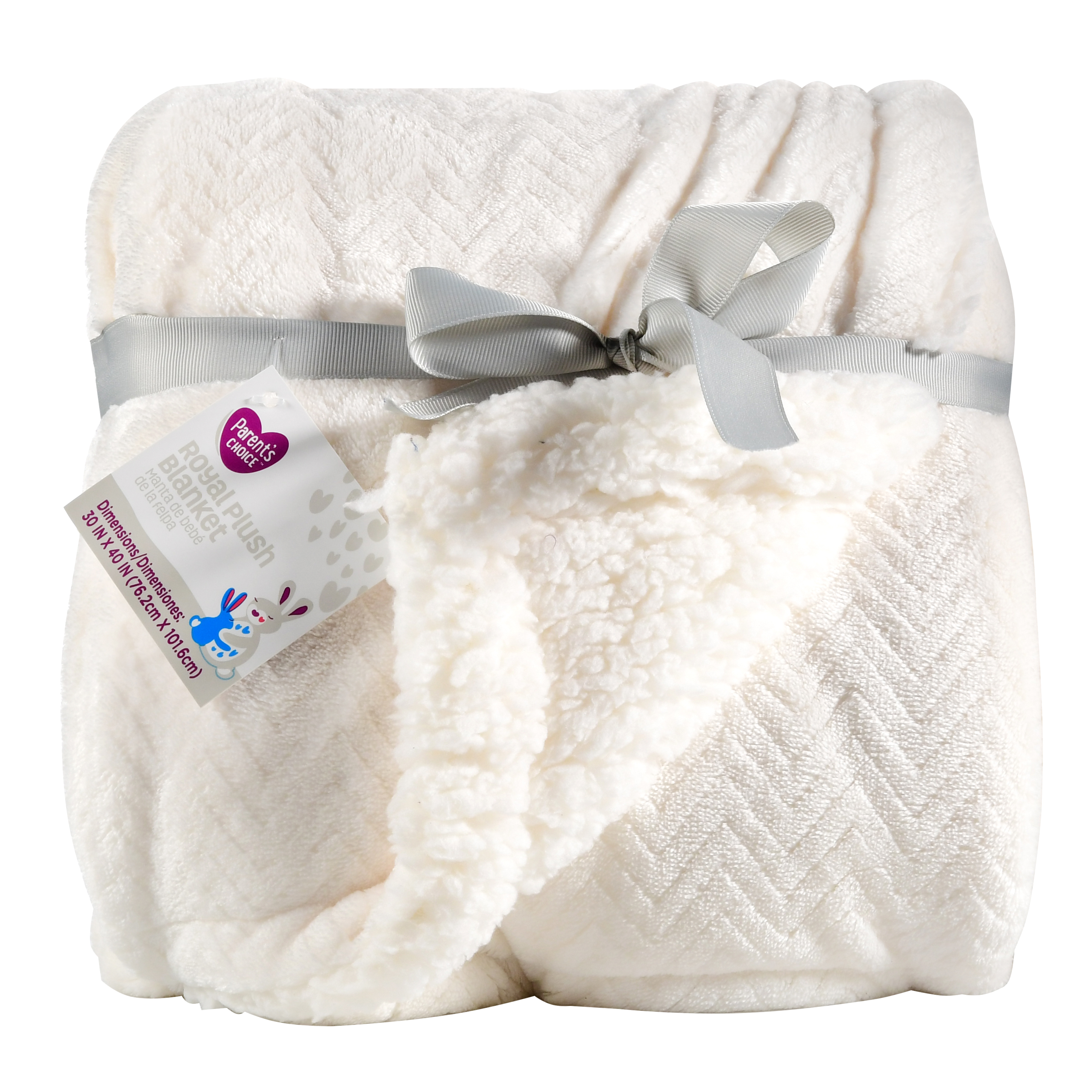 Parent's Choice Royal Plush Blanket, White, 1 Pack