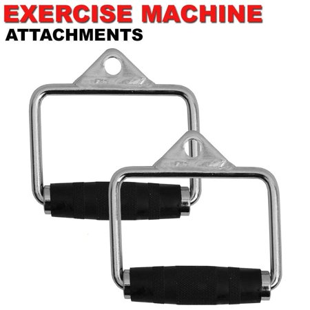 Fitness Maniac 2X Cable Handle Attachments Machine Workout D-Handle Stirrup 1 Pair Rubber Grips