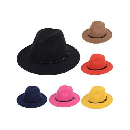 Navy Derby Hat (Fashion Retro Men / Women Wool Felt Jazz Panama Derby Wide Brim Fedora Hat)
