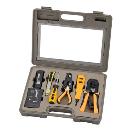 InstallerParts 10 Piece Network Installation Tool Kit -- Includes LAN Data Tester, RJ45 RJ11 Crimper, 66 110 Punch Down, Stripper, Utility Knife, 2 in 1 Screwdriver, and Hard