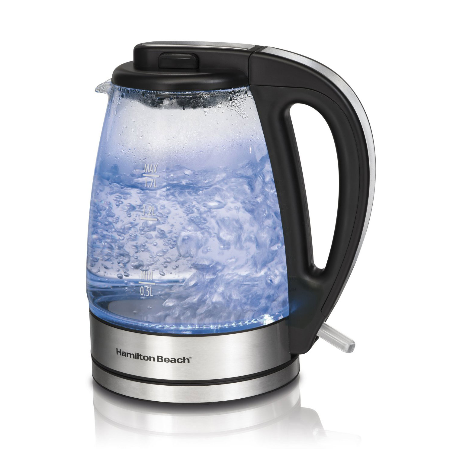 Hamilton Beach 40865 - Soft Blue Illuminated Glass Electric Kettle, 1.7-Liter