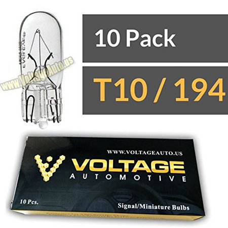 (10 Pack) 194 T10 Bulb For License Plate Light Side Marker Automotive Interior Light Dashboard Dome Light - Voltage Automotive