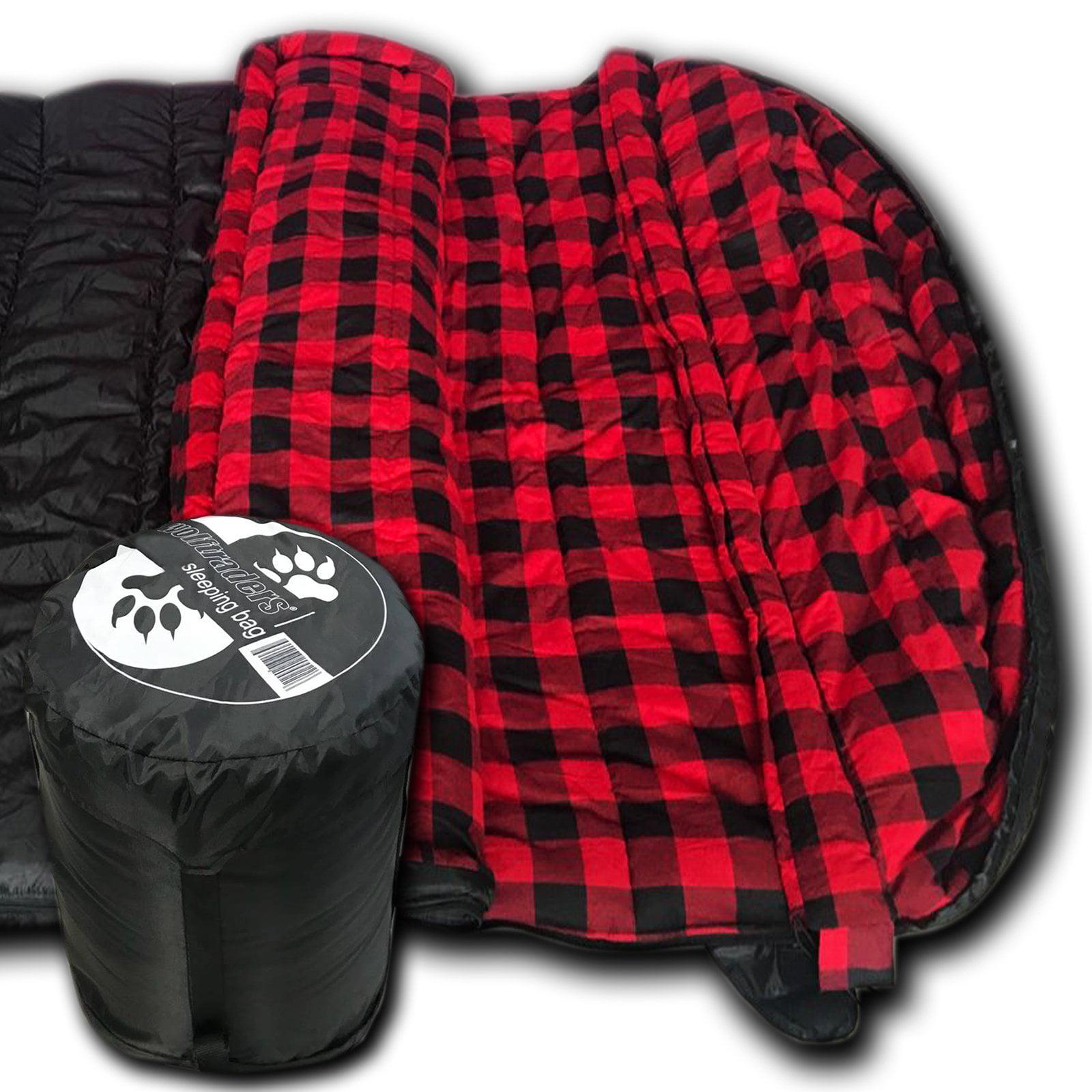 Wolftraders TwoWolves +0 Degree 2-Person Ripstop Premium Comfort Sleeping Bag, Black/Red