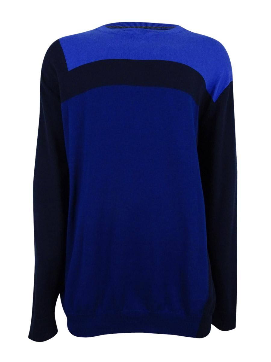 Alfani Men's Big and Tall Lightweight Colorblock Sweater (2XLT, Dark Side Combo)