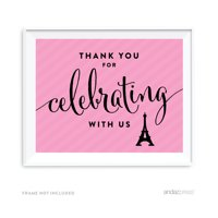 Thank You For Celebrating With Us! Paris Bonjour Bebe Girl Baby Shower Party Signs