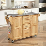 Home Styles Stainless Steel-Top Kitchen Cart With Breakfast Bar