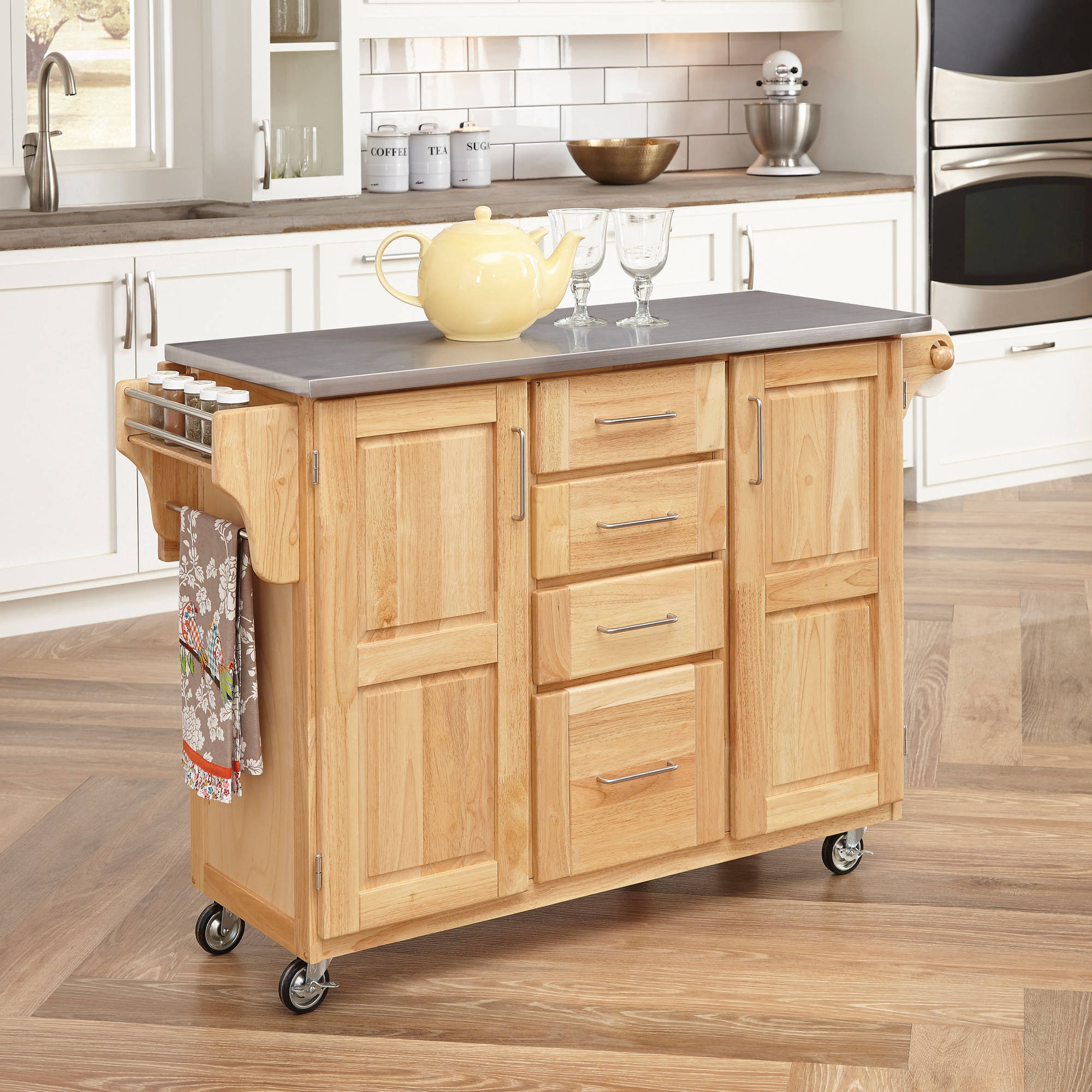 walmart kitchen islands home styles stainless steel top kitchen cart with 3331