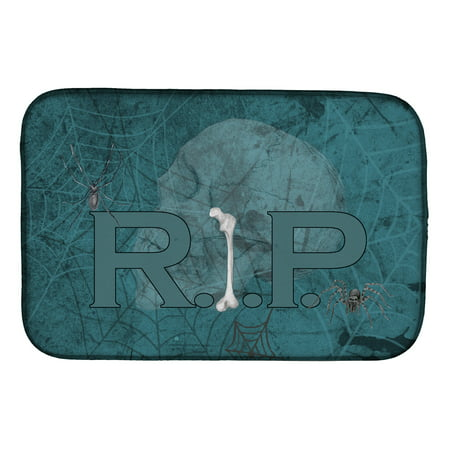 RIP Rest in Peace with spider web Halloween Dish Drying Mat](Rip For Halloween Sayings)