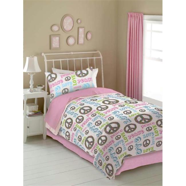 PEACE AND LOVE 736425457753 PEACE AND LOVE COMFORTER SET - PINK-WHITE