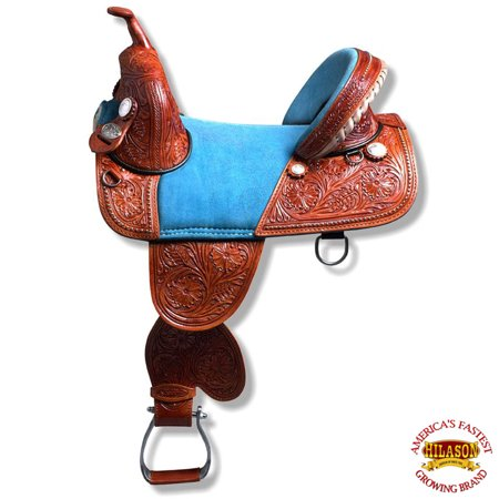 "15"" HILASON TREELESS WESTERN TRAIL BARREL RACING LEATHER SADDLE"