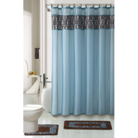 4 Piece Luxury Majestic Flocking Blue Bath Rug Set 3 Bathroom Rugs With Fabric Shower Curtain And Matching Rings
