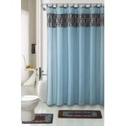4 Piece Luxury Majestic Flocking Blue Bath Rug Set 3 Bathroom Rugs With Fabric