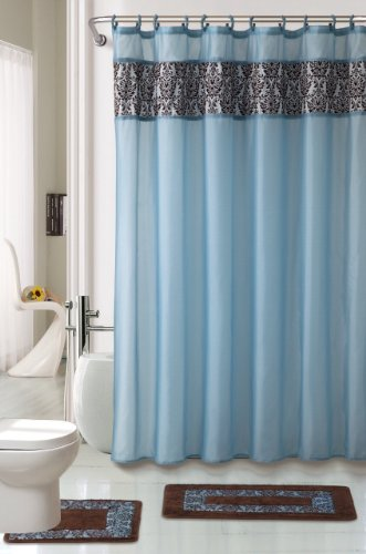 Attractive 4 Piece Luxury Majestic Flocking Blue Bath Rug Set/ 3 Piece Bathroom Rugs  With Fabric