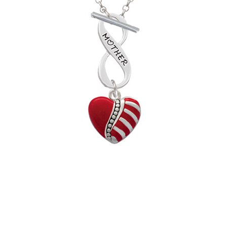Striped Red Enamel Heart with Beaded Decoration Mother Infinity Toggle Chain Necklace