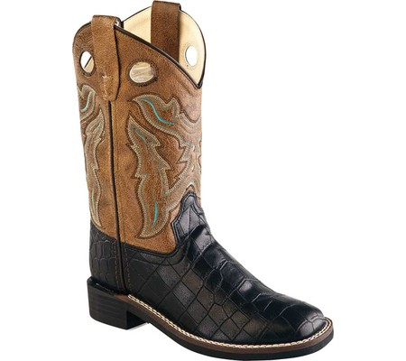 Old West Children All Over Leatherette Material Broad Square Toe Boots-Leatheret