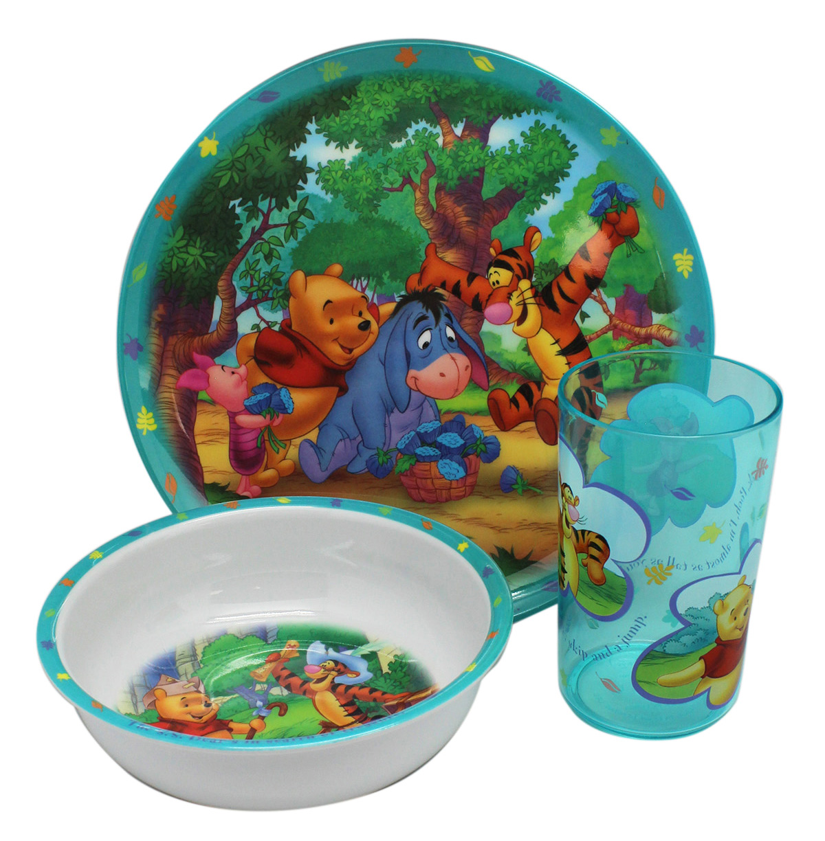 Disney's Winnie the Pooh Turquoise Color Accented Cup Bowl and Plate Set by Disney