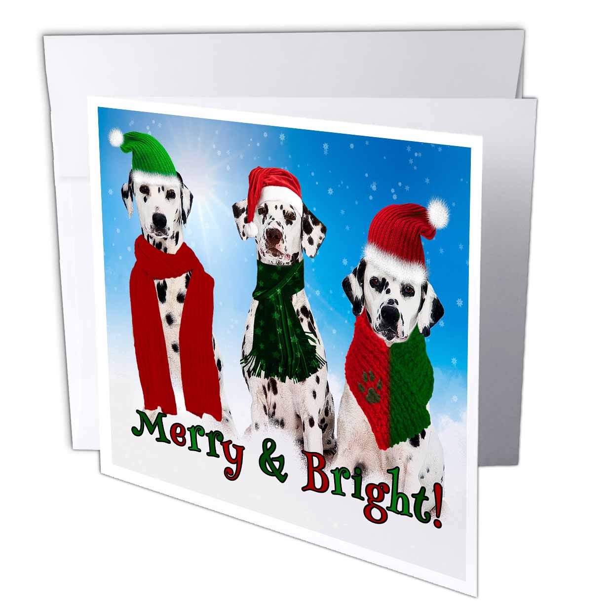 3dRose Three Dalmatian Dogs in the snow for a Merry and Bright Christmas, Greeting Card, 6 x 6 inches, single