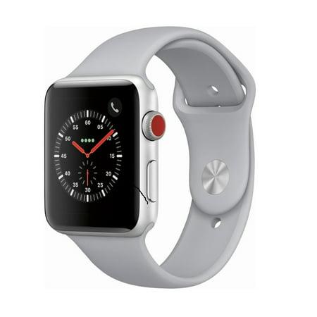 Apple Watch Gen 3 Series 3 Cell 42mm Silver Aluminum - Fog Sport Band MQK12LL/A