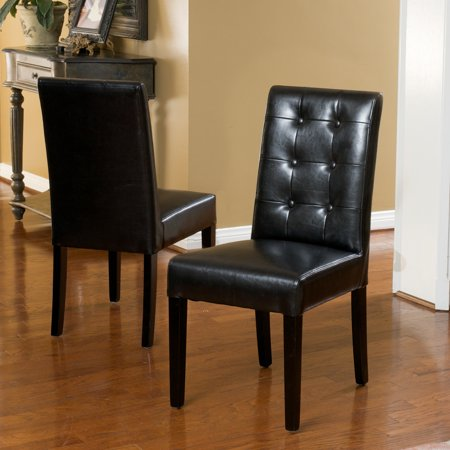 2 Black Dining Chairs - Noble House Randall Black Bonded Leather Dining Chairs (Set of 2)