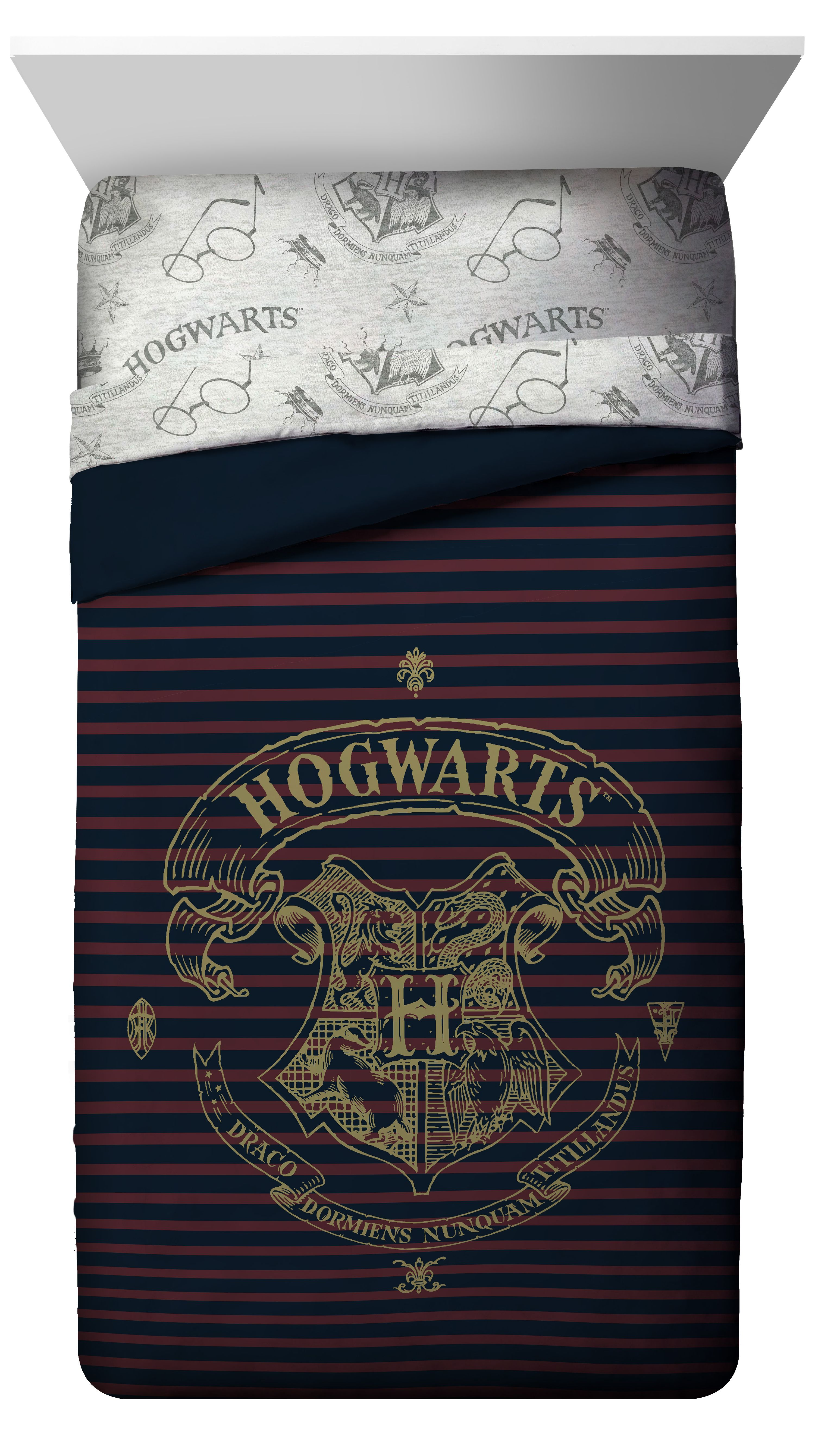 Harry Potter Spellbound Hogwarts Emblem Reversible Twin Full Comforter with Gold Foil... by Jay Franco