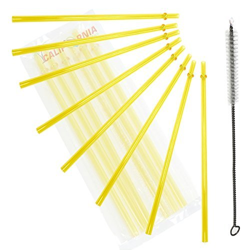 10.5 Inch, Set of 6 Yellow Replacement Acrylic Straws and 1 Nylon Straw Cleaning Brush for 16oz, 20oz, 24oz Tumblers