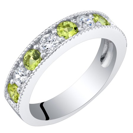 Band Peridot Ring - Sterling Silver Peridot Milgrain Half Eternity Ring Band Sizes 5 to 9